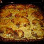 Фото для рецепта: Мясо по-французски с шампиньонами и картошкой
