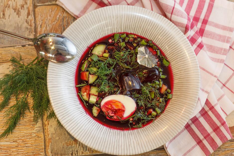 Фото для рецепта: Ботвинья с рыбой и зеленью